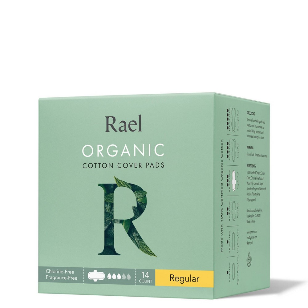 Rael Organic Cotton Regular Menstrual Pads Unscented 14ct