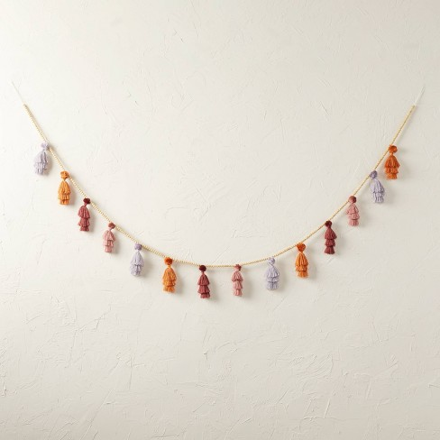 """72"""" Warm Tassel Pom Beaded Garland - Opalhouse™ designed with Jungalow™ - image 1 of 4"""