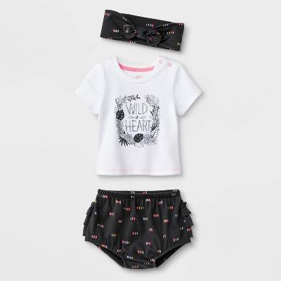 Baby Girls' 3pc Cross-Back T-Shirt, Ruffle Bloomer Pull-On Shorts & Bow Headband Set - Cat & Jack™ White/Black 6-9M