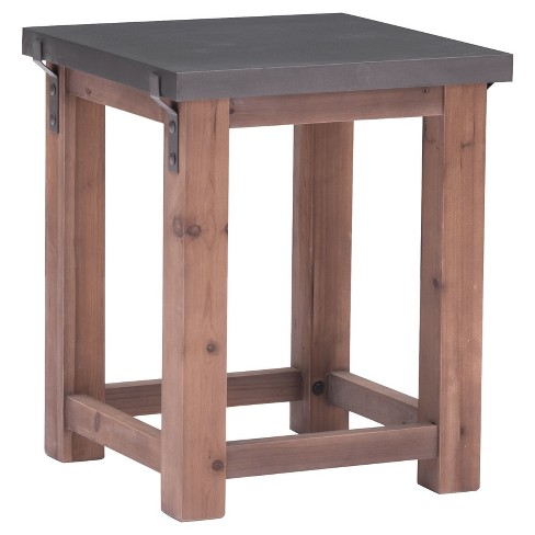 Sleek Industrial Side Table - Gray, Distressed Fir - Zm Home - image 1 of 5