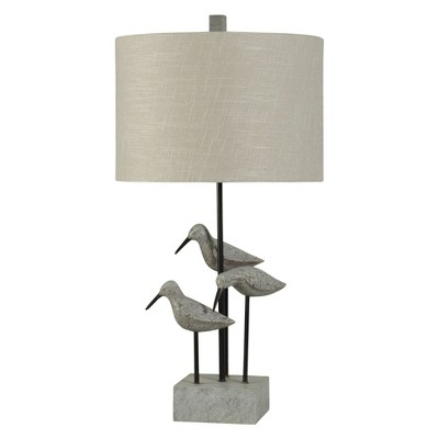 Chittaway Bay Birds Gray Table Lamp with White Hardback Fabric Shade (Includes Light Bulb)- StyleCraft