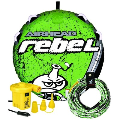 """Airhead AHRE-12 54"""" Rebel Single Rider Lake Boat Towable Tube with 16 Strand Rope, 4 Handles, 12V Pump Kit"""