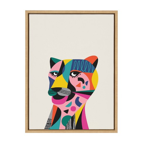 """18"""" x 24"""" Sylvie Tiger Framed Canvas Wall Art by Rachel Lee Natural - Kate and Laurel - image 1 of 4"""