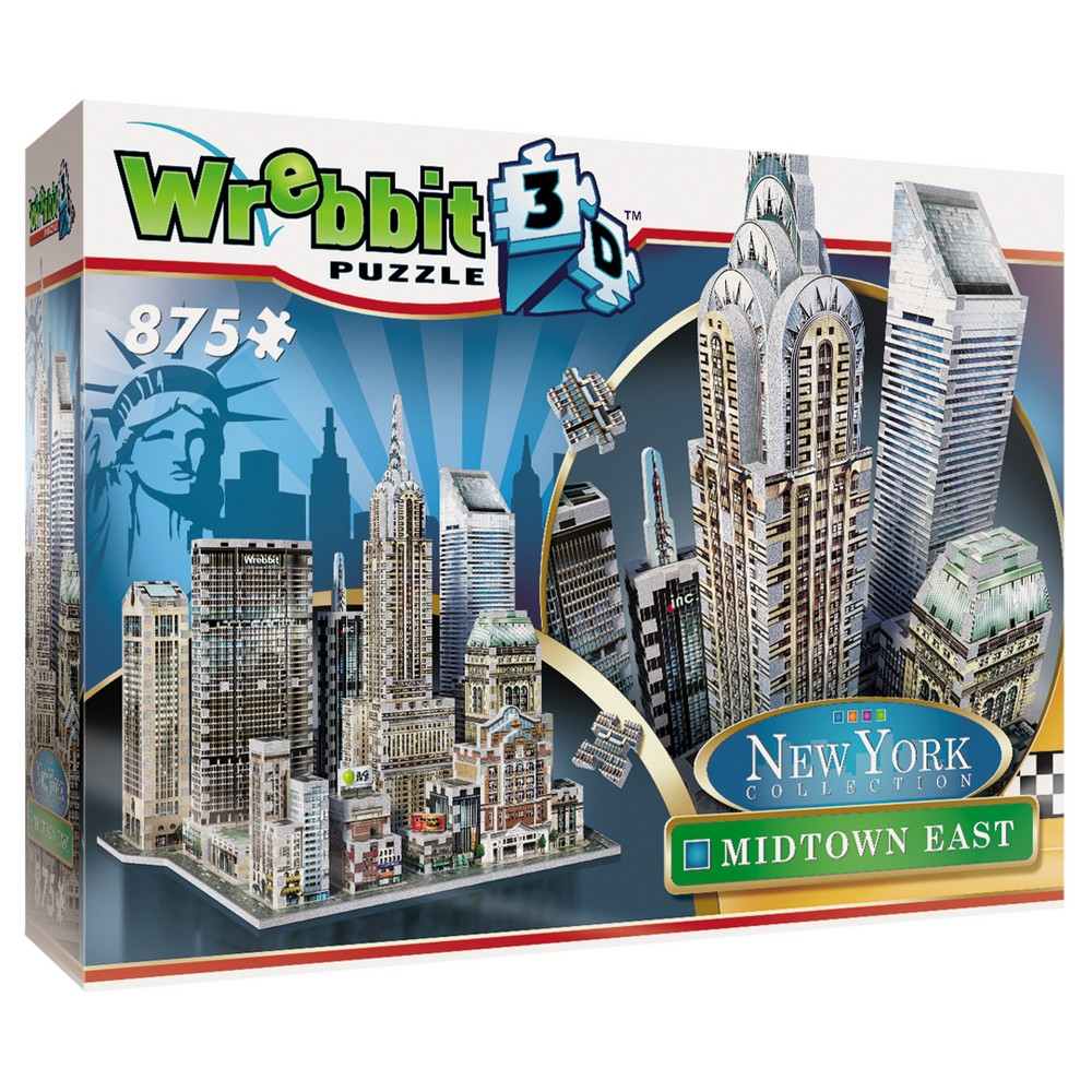 Wrebbit 2010 New York Midtown East 3D Puzzle 875pc Chrysler Building (1930), MetLife Building (1963), Citigroup Center (1977), Sony Tower (1984), Grand Central Station (1913). All these remarkable icons and more at your fingertips to recreate an 875 piece 3D puzzle version of one of New York City's famous districts-Midtown East Manhattan. Each piece has foam backing. Age - 15 and up. Approximate finished dimensions are 14.47 x 15.55 x 13.98 inches. Warning: Choking Hazard - Small parts. Not for children under 3 yrs. Gender: Unisex.