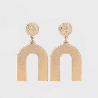 Flat Geometric Brass and in Worn Gold Post Top Earrings - Universal Thread™ Gold