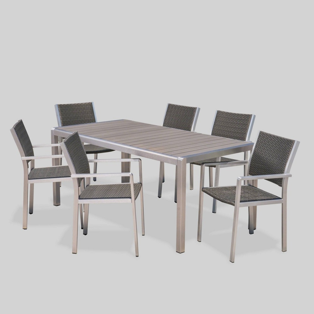 Miraculous Cape Coral 7Pc Aluminum Wicker Wood Outdoor Patio Dining Set Gmtry Best Dining Table And Chair Ideas Images Gmtryco