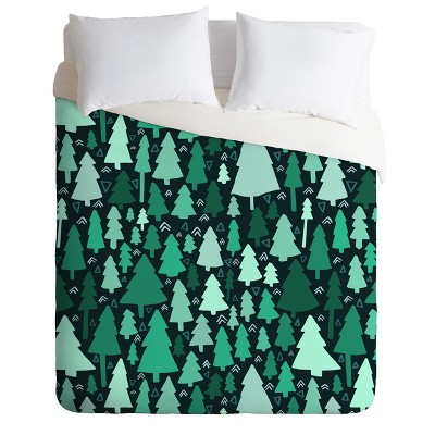King Leah Flores Wild and Woodsy Duvet Cover Set Green - Deny Designs