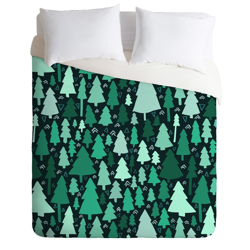 Twin/Twin XL Leah Flores Wild and Woodsy Duvet Cover Set Green - Deny Designs