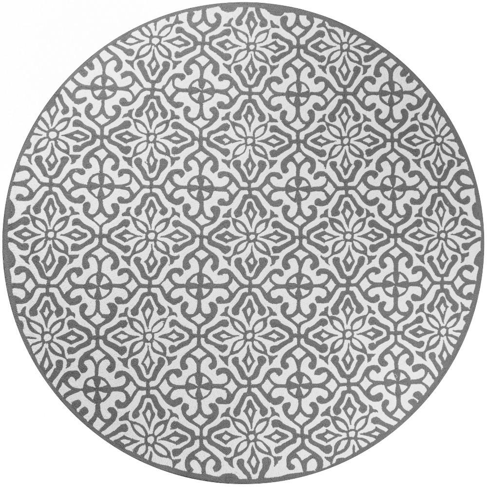 9'X9' Geometric Hooked Round Area Rug Gray - Momeni