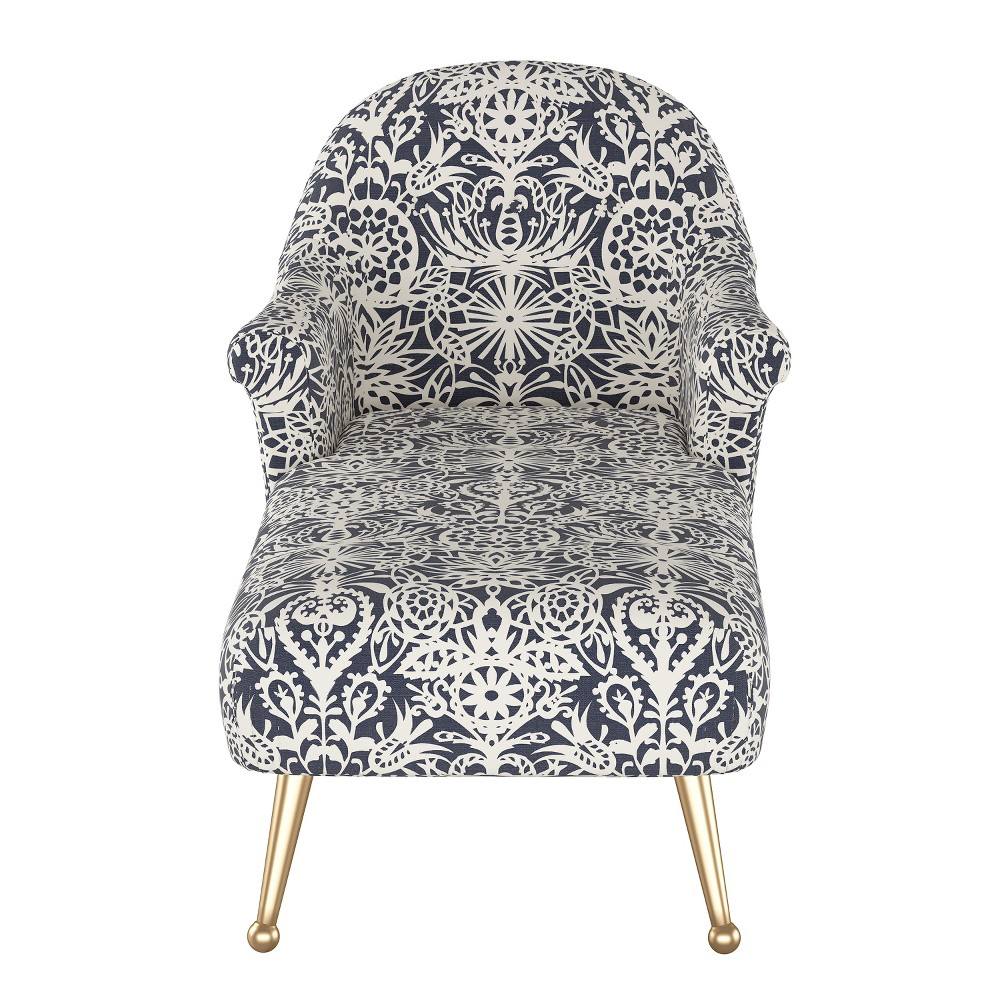 Comfrey Chaise Lounge with Brass Legs Navy & White Floral - Opalhouse