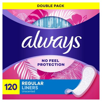 Always Daily Liners Regular Wrapped - Unscented - 120ct