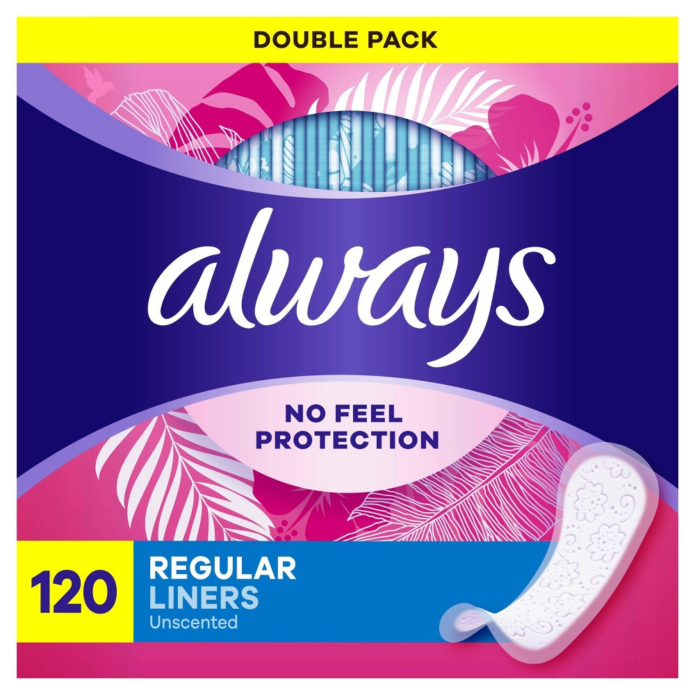 Always Daily Liners Regular Wrapped Unscented 120ct