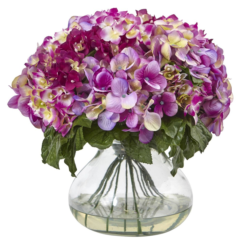 """Image of """"15"""""""" x 14"""""""" Artificial Hydrangea Arrangement with Glass Vase Pink/Green - Nearly Natural"""""""