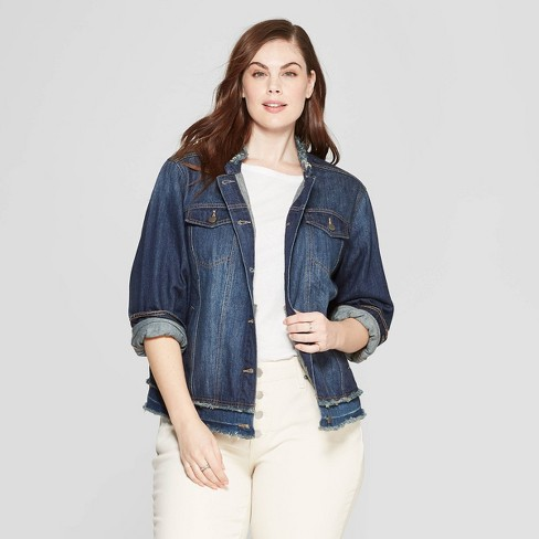969e8697c81 Women s Plus Size Freeborn Denim Jacket - Universal Thread™ Medium Blue    Target