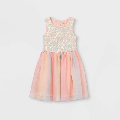 Girls' Rainbow Sequin Sleeveless Tulle Dress - Cat & Jack™