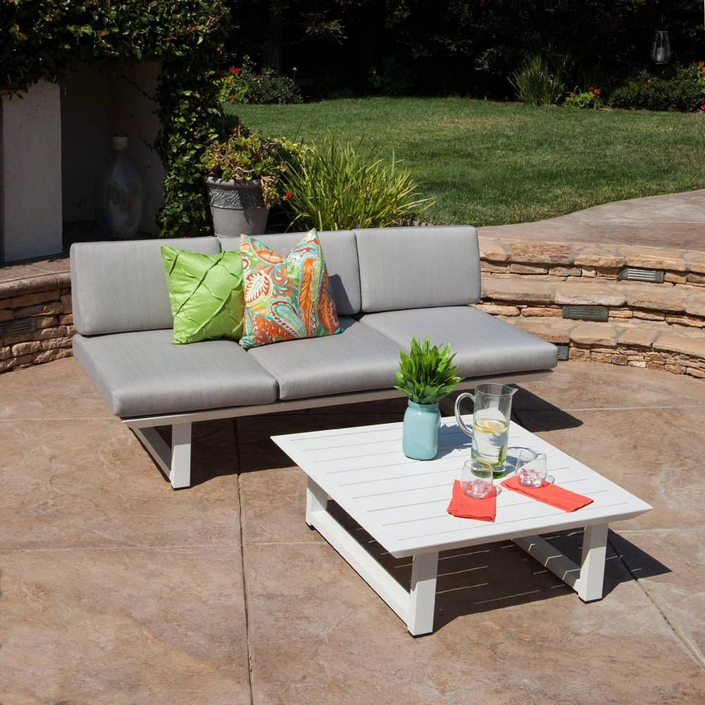 Bronte 2pc Aluminum Sofa and Coffee Table Set - White/Light Gray - Christopher Knight Home