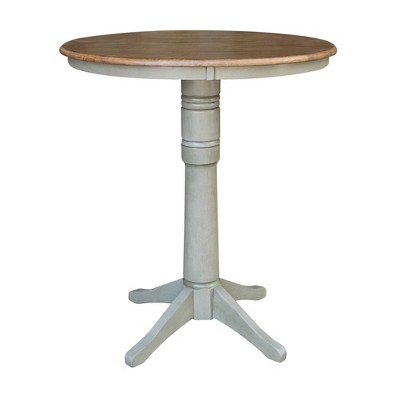 Waylan Round Pedestal Table Hickory Brown/Stone Gray - International Concepts