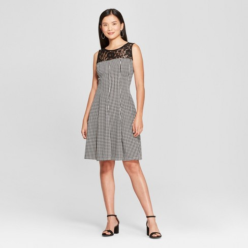 Womens Lace Yoke Houndstooth Fit And Flare Dress Melonie T