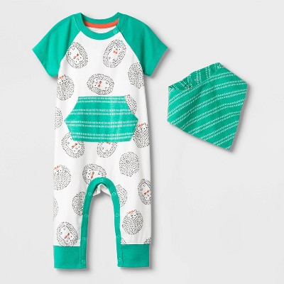 Baby Boys' Short Sleeve Hedgehog All Over Print Romper - Cat & Jack™ Green Newborn