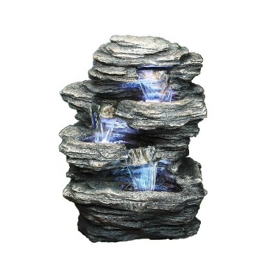 "13.25"" Natural Water Rock Fountain with 4 Levels Stone Gray - Hi-Line Gift"