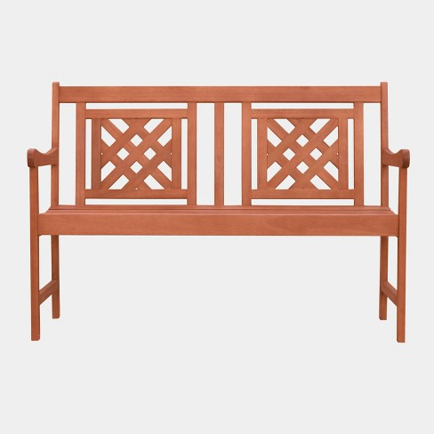 Super Malibu Plaid Hardwood Eucalyptus Outdoor Patio Bench Tan Vifah Ibusinesslaw Wood Chair Design Ideas Ibusinesslaworg