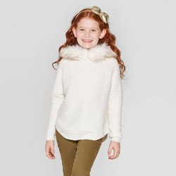 Girls' Long Sleeve Faux Fur Hooded Sweater - Cat & Jack™ Cream