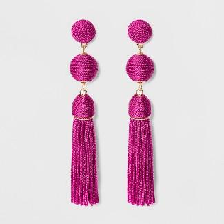SUGARFIX by BaubleBar Monochrome Tassel Drop Earrings - Pink