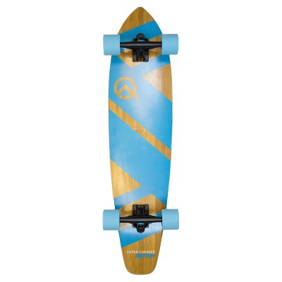 "Quest Super Cruiser REMIX 36"" Longboard Skateboard - Aqua Blue/Wood"
