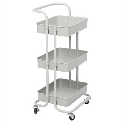 3 Tier Mobile Storage Caddy in Silver Gray-Pemberly Row