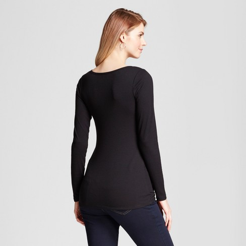 399d4235dd182 Maternity Long Sleeve Nursing Henley - Isabel Maternity™ By Ingrid   Isabel®  Black S   Target