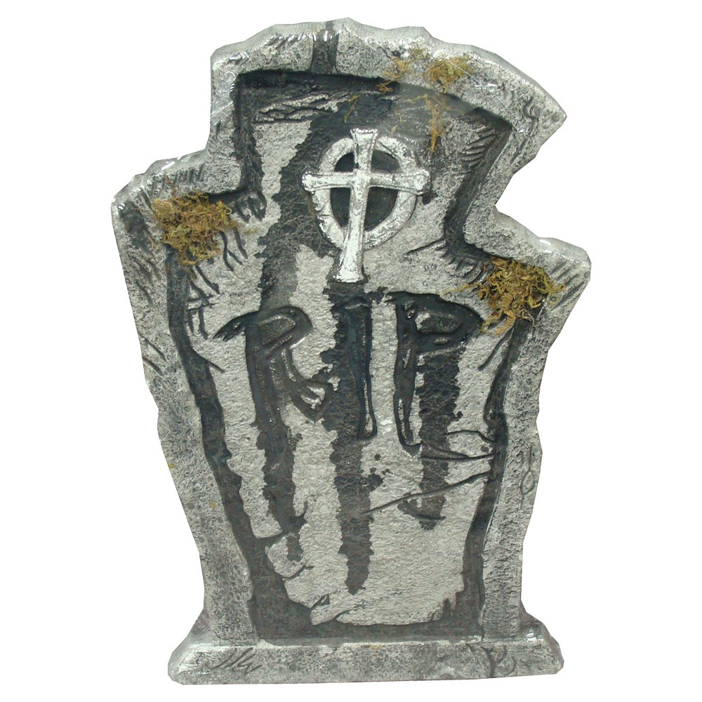 Image of 22 Halloween Rip Foam Tombstone, Gray
