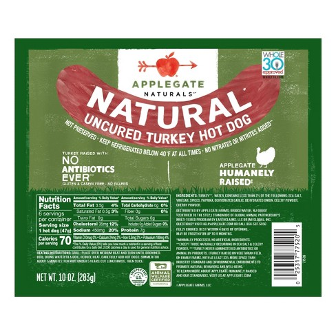 Applegate Naturals Uncured Turkey Hotdogs - 10oz - image 1 of 4