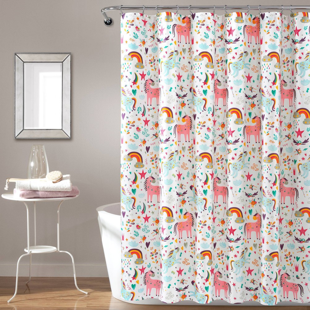 "Image of ""72""""x72"""" Unicorn Heart Shower Curtain White - Lush Décor"""