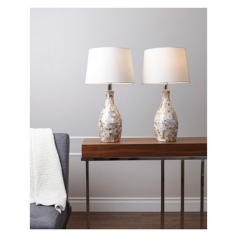 Set Of 2 Becca Mother Of Pearl Table Lamps White Lamp Only