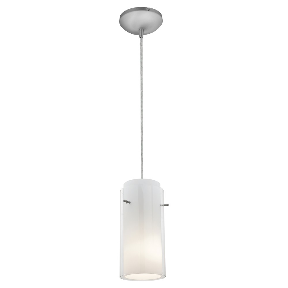 Image of Glass 'n Glass Cord Pendant with Clear Opal Glass Shade - Brushed Steel