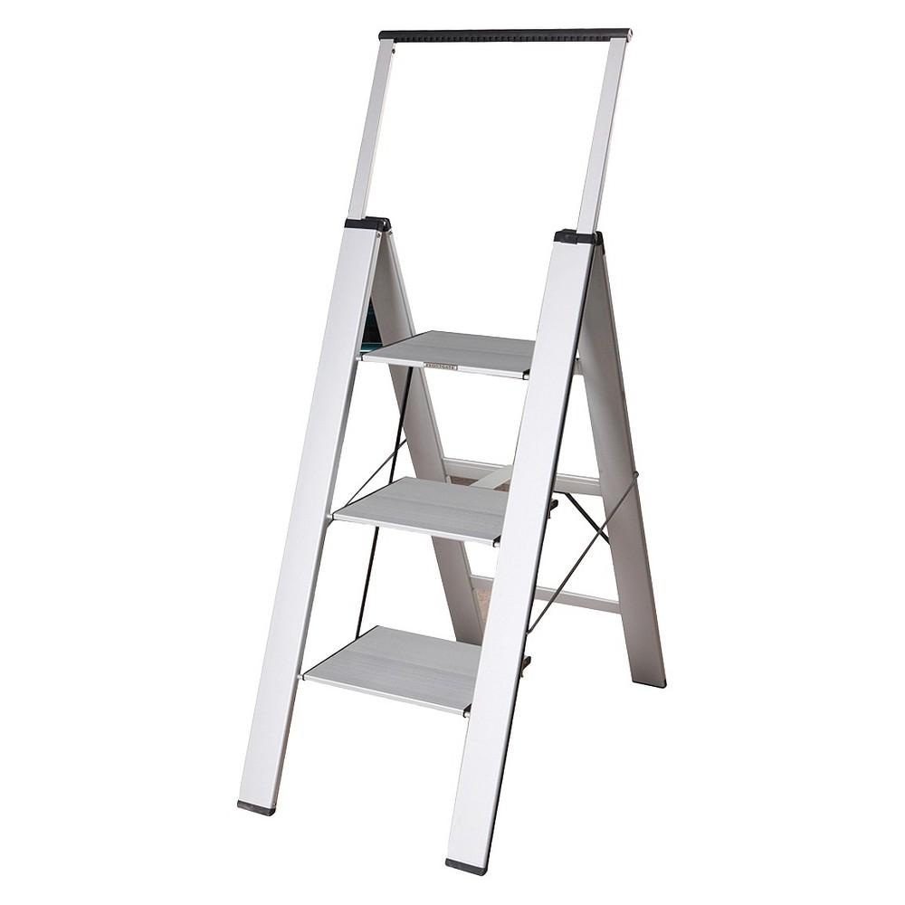 Xtend & Climb Wood Aluminum 3-Step Stool - Silver
