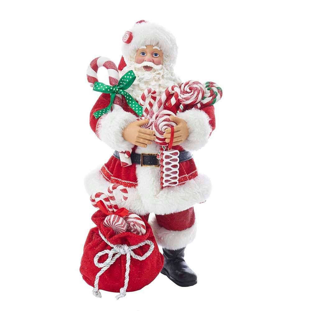 "Image of ""10.5"""" Kurt Adler Fabriche Santa With Christmas Candy and Bag Decorative Sculpture"""