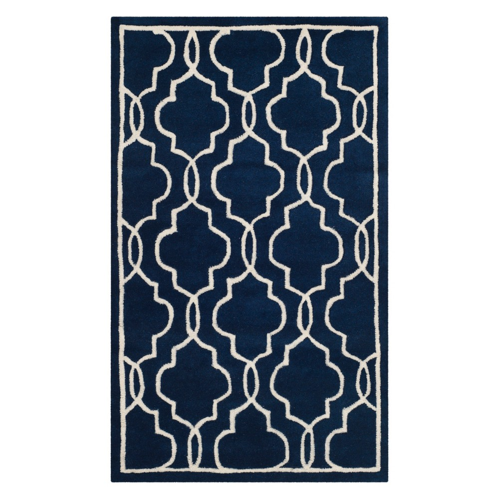 3X5 Quatrefoil Design Tufted Accent Rug Dark Blue/Ivory - Safavieh Compare