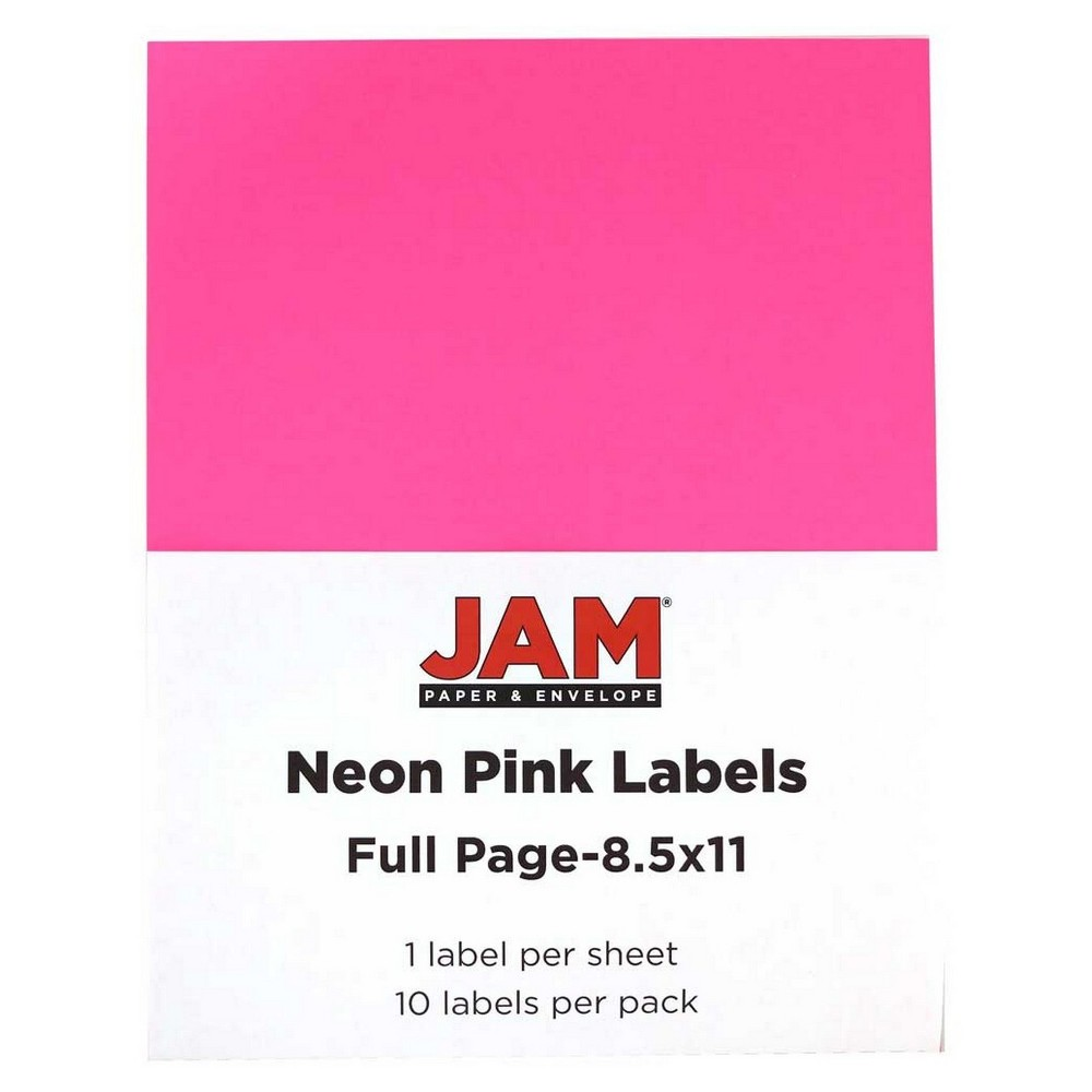 Jam Paper Shipping Labels 8.5 x 11 10ct - Neon Pink