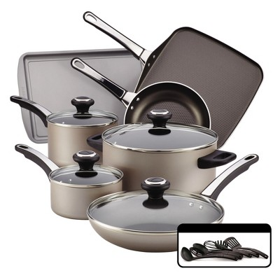 Farberware High Performance Nonstick Aluminum 17-Piece Cookware Set - Champagne