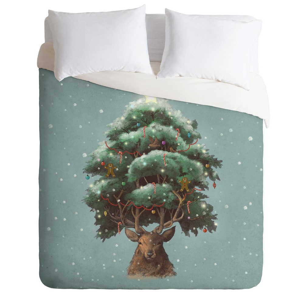 King Terry Fan Old Growth Duvet Cover Set Blue - Deny Designs