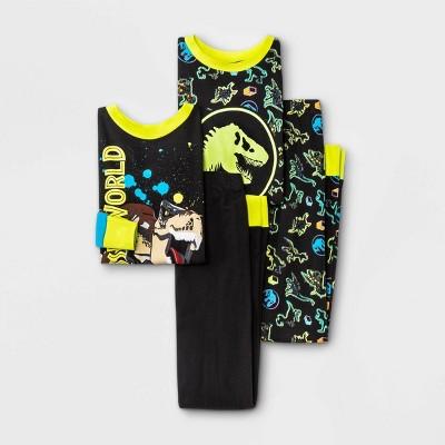 Boys' LEGO Jurassic World 4pc Pajama Set - Black/Yellow