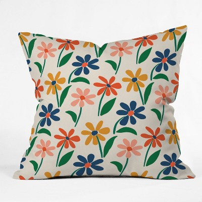 Zoe Wodarz Floral Square Throw Pillow Green/Blue - Deny Designs