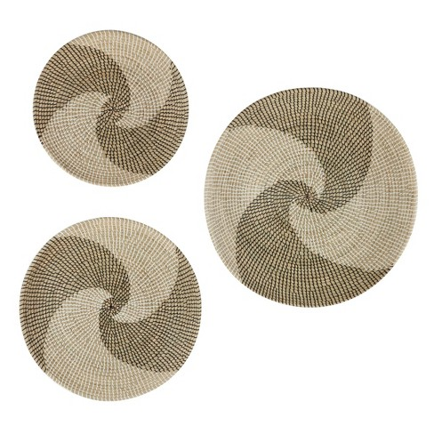 Set of 3 Round Swirl Natural Round Seagrass Wall Decor Trays Black/White - Olivia & May - image 1 of 4