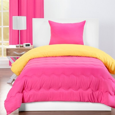 Twin Reversible Comforter With Sham Magenta/Laser Lemon - Crayola
