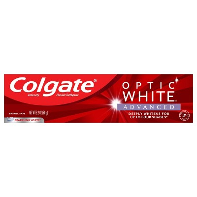 Colgate Optic White Advanced Whitening Toothpaste With 2 Hydrogen Peroxide Sparkling White 3 2oz Target