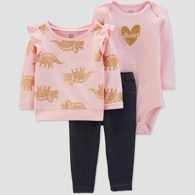 Baby Girls' 3pc Dino Ruffle Sleeve Top & Bottom Sets - Just One You® made by carter's Pink 6M