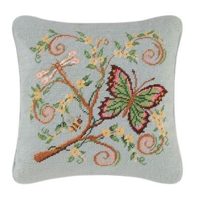 """C&F Home 14"""" x 14"""" Butterfly Garden Needlepoint Pillow"""