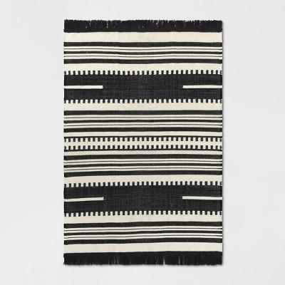 5'X7' Stripe Woven Area Rug Black - Opalhouse™