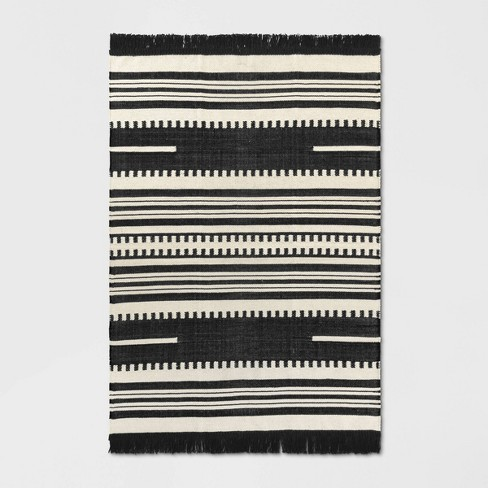 5'X7' Sylviidae Stripe Woven Area Rug Black - Opalhouse™ - image 1 of 4